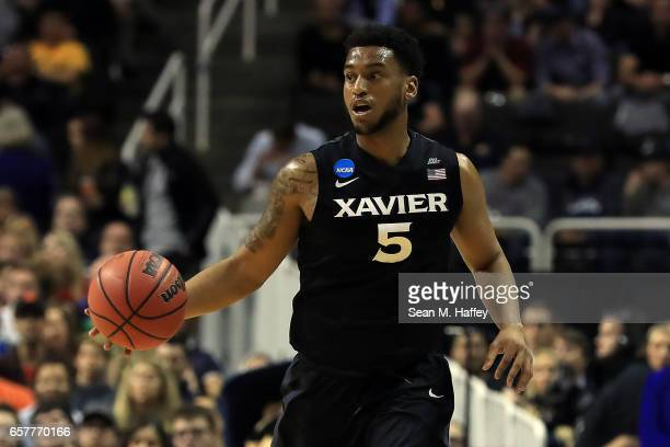Trevon Bluiett of the Xavier Musketeers handles the ball on offense against the Gonzaga Bulldogs during the 2017 NCAA Men's Basketball Tournament...