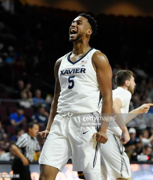 Trevon Bluiett of the Xavier Musketeers reacts after a basket against the Arizona State Sun Devils during the championship game of the 2017...