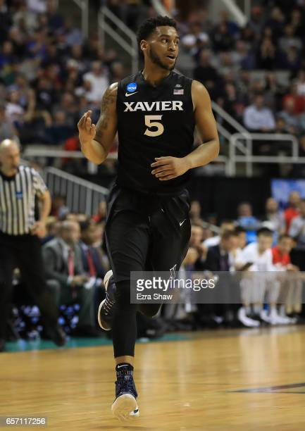 Trevon Bluiett of the Xavier Musketeers reacts against the Arizona Wildcats during the 2017 NCAA Men's Basketball Tournament West Regional at SAP...