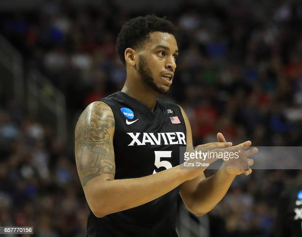 Trevon Bluiett of the Xavier Musketeers reacts against the Gonzaga Bulldogs during the 2017 NCAA Men's Basketball Tournament West Regional at SAP...
