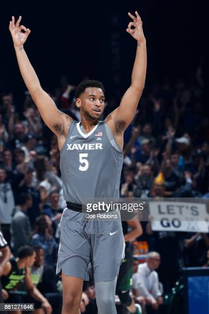 Trevon Bluiett of the Xavier Musketeers reacts in the first half of a game against the Baylor Bears at Cintas Center on November 28 2017 in...
