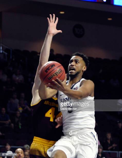 Trevon Bluiett of the Xavier Musketeers shoots against the Arizona State Sun Devils during the championship game of the 2017 Continental Tire Las...
