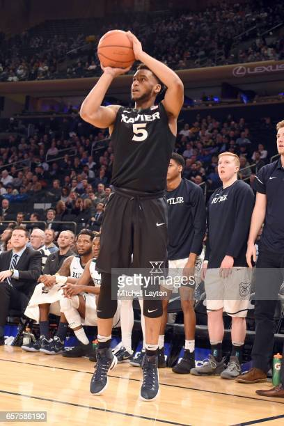 Trevon Bluiett of the Xavier Musketeers takes a jump shot during the Big East Basketball Tournament Quarterfinal game against the Butler Bulldogs at...