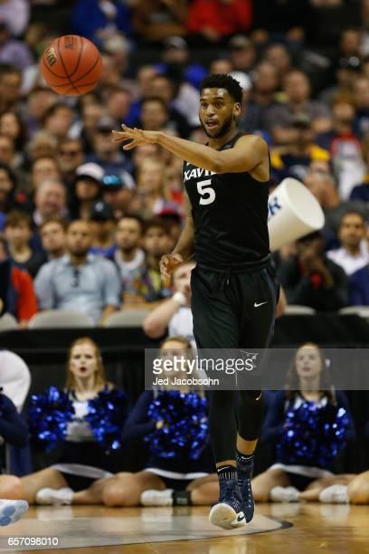 Trevon Bluiett of the Xavier University Musketeers passes against the University of Arizona Wildcats during the 2017 NCAA Men's Basketball Tournament...