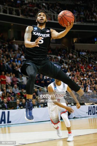 Trevon Bluiett of the Xavier University Musketeers shoots against the University of Arizona Wildcats during the 2017 NCAA Men's Basketball Tournament...