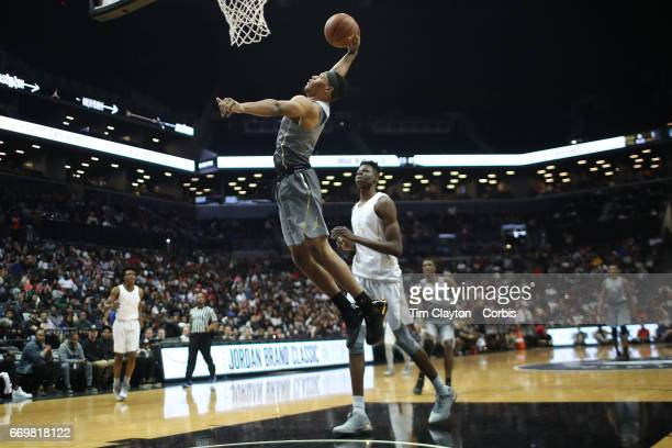 Trevon Duval drives to the basket during the Jordan Brand Classic National Boys Team AllStar basketball game at The Barclays Center on April 14 2017...