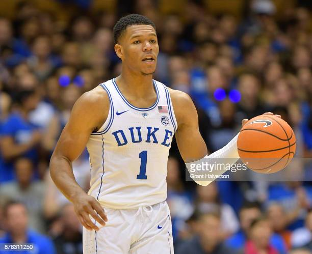 Trevon Duval of the Duke Blue Devils against the Southern University Jaguars during their game at Cameron Indoor Stadium on November 17 2017 in...