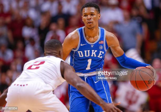 Trevon Duval of the Duke Blue Devils brings the ball up court during the game against the Indiana Hoosiers at Assembly Hall on November 29 2017 in...