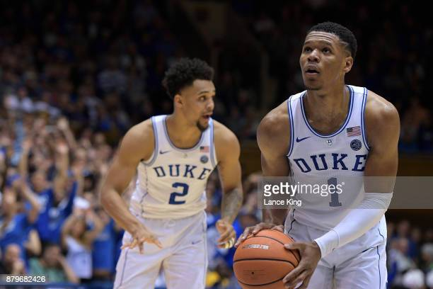 Trevon Duval of the Duke Blue Devils concentrates at the freethrow line against the Southern Jaguars at Cameron Indoor Stadium on November 17 2017 in...