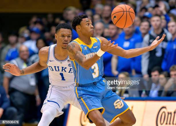 Trevon Duval of the Duke Blue Devils defends Eddie Reese of the Southern University Jaguars during their game at Cameron Indoor Stadium on November...