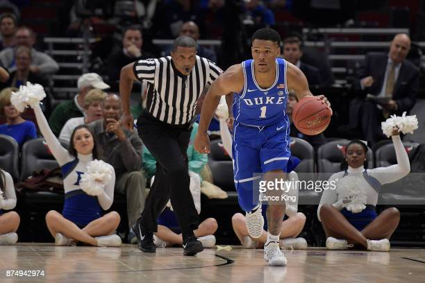 Trevon Duval of the Duke Blue Devils dribbles up court against the Michigan State Spartans during the Champions Classic at United Center on November...
