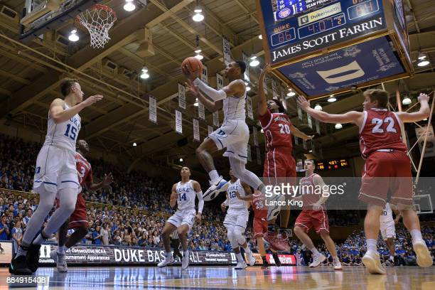 Trevon Duval of the Duke Blue Devils goes to the basket against the South Dakota Coyotes at Cameron Indoor Stadium on December 2 2017 in Durham North...