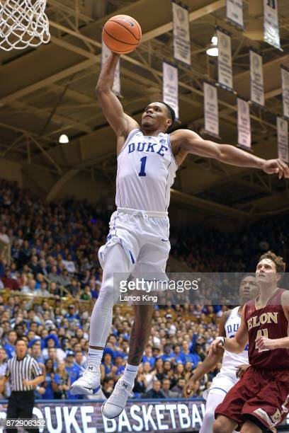 Trevon Duval of the Duke Blue Devils goes up for a dunk against the Elon Phoenix at Cameron Indoor Stadium on November 10 2017 in Durham North...