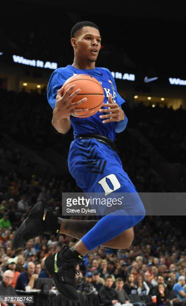 Trevon Duval of the Duke Blue Devils goes up for a shot during the second half of the game against the Texas Longhorns during the PK80Phil Knight...
