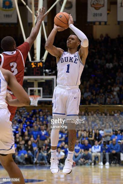 Trevon Duval of the Duke Blue Devils puts up a shot against the South Dakota Coyotes at Cameron Indoor Stadium on December 2 2017 in Durham North...