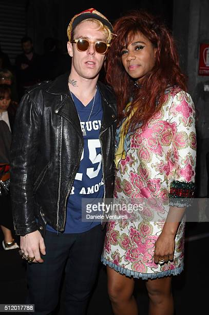 Trevor Andrew and Kara Walker attend the Gucci show during Milan Fashion Week Fall/Winter 2016/17 on February 24 2016 in Milan Italy