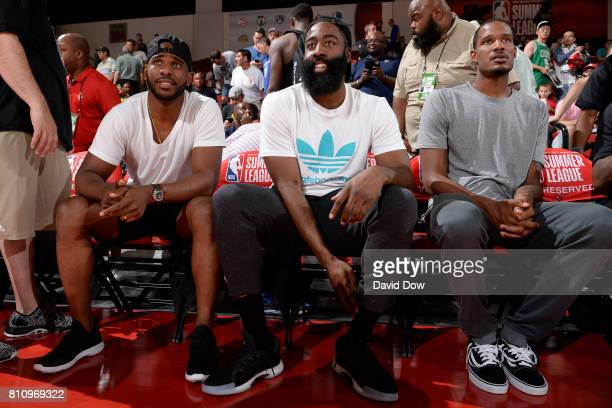 Trevor Ariza James Harden and Chris Paul of the Houston Rockets attend the game against the Cleveland Cavaliers during the 2017 Las Vegas Summer...