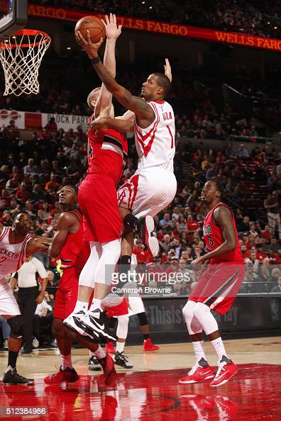 Trevor Ariza of the Houston Rockets goes to the basket against the Portland Trail Blazers on February 25 2016 at the Moda Center in Portland Oregon...