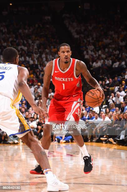 Trevor Ariza of the Houston Rockets handles the ball against the Golden State Warriors on October 17 2017 at ORACLE Arena in Oakland California NOTE...