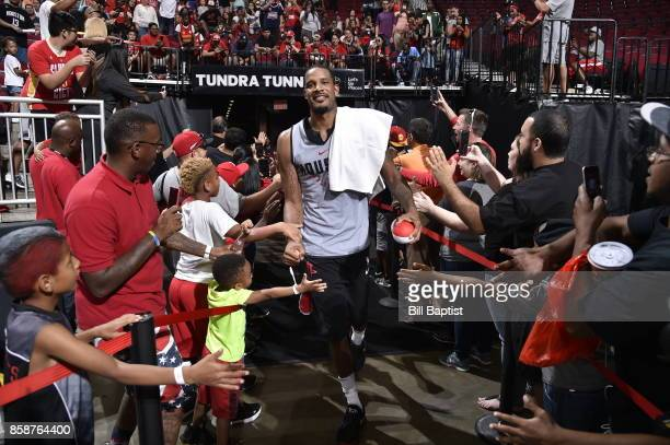 Trevor Ariza of the Houston Rockets participates in the team's annual Fan Fest event on October 7 2017 at the Toyota Center in Houston Texas NOTE TO...