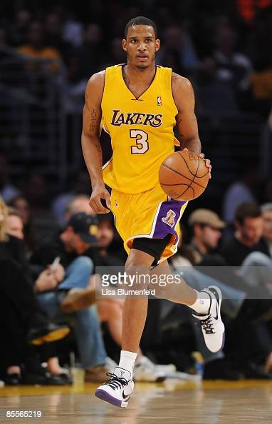 Trevor Ariza of the Los Angeles Lakers drives the ball upcourt during the game against the Golden State Warriors at Staples Center on March 19 2009...