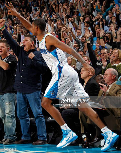 Trevor Ariza of the New Orleans Hornets celebrates after hitting a three pointer against the Miami Heat on November 5 2010 at the New Orleans Arena...