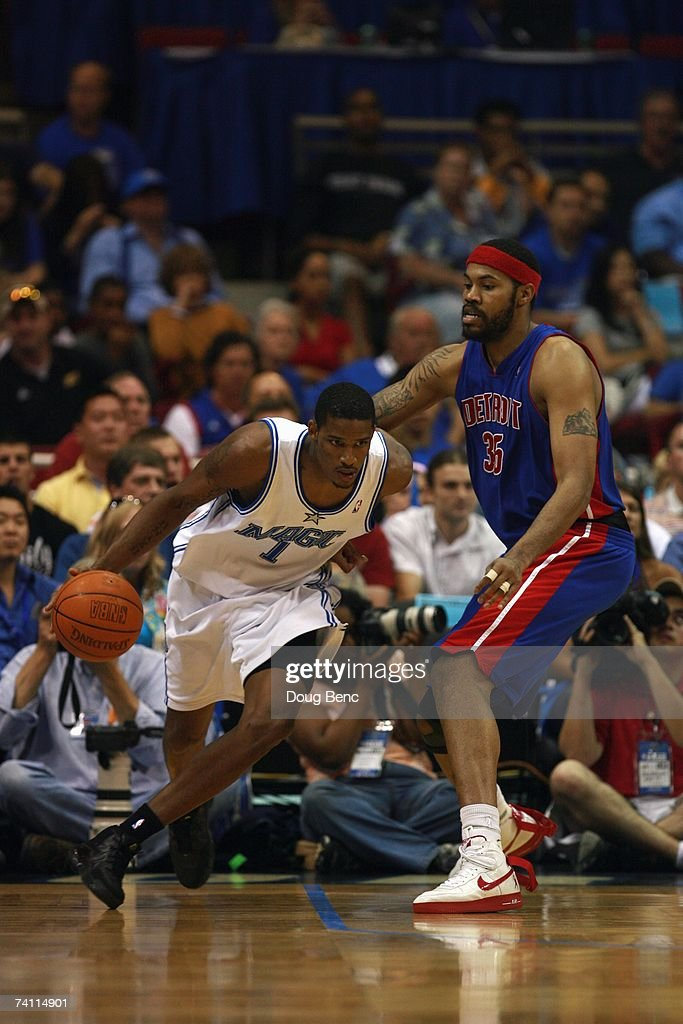 Trevor Ariza #1 of the Orlando Magic drives against Rasheed Wallace #36 of the Detroit Pistons in Game Four of the Eastern Conference Quarterfinals during the 2007 NBA Playoffs at Amway Arena on April 28, 2007 in Orlando, Florida. The Pistons won 97-93 and won the series 4-0.
