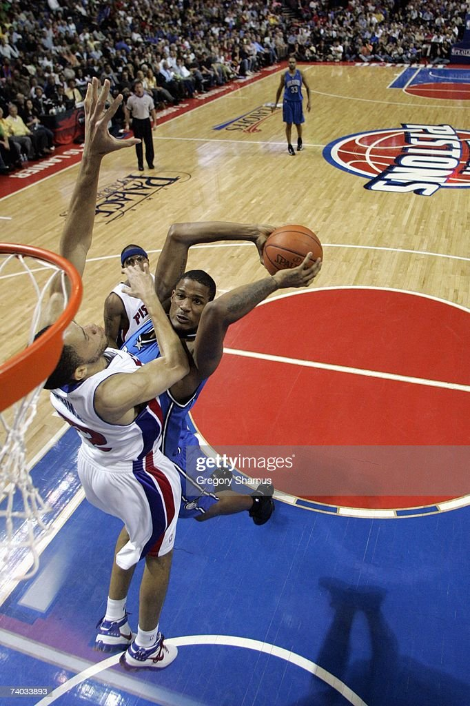 Trevor Ariza #1 of the Orlando Magic goes to the basket against Tayshaun Prince #22 of the Detroit Pistons in Game Two of the Eastern Conference Quarterfinals during the 2007 NBA Playoffs at the Palace of Auburn Hills on April 23, 2007 in Auburn Hills, Michigan. The Pistons won 98-90.