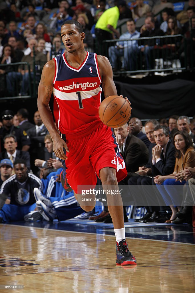 <a gi-track='captionPersonalityLinkClicked' href=/galleries/search?phrase=Trevor+Ariza&family=editorial&specificpeople=201708 ng-click='$event.stopPropagation()'>Trevor Ariza</a> #1 of the Washington Wizards brings the ball up court during the game against the Dallas Mavericks on November 14, 2012 at the American Airlines Center in Dallas, Texas.