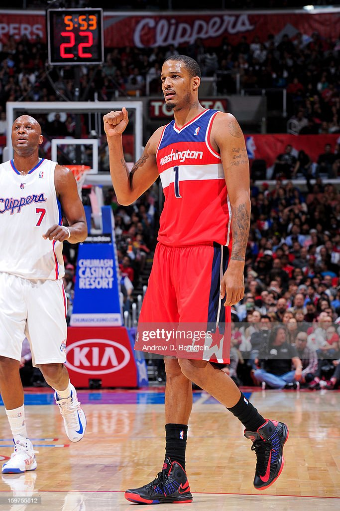 Trevor Ariza #1 of the Washington Wizards celebrates while playing the Los Angeles Clippers at Staples Center on January 19, 2013 in Los Angeles, California.