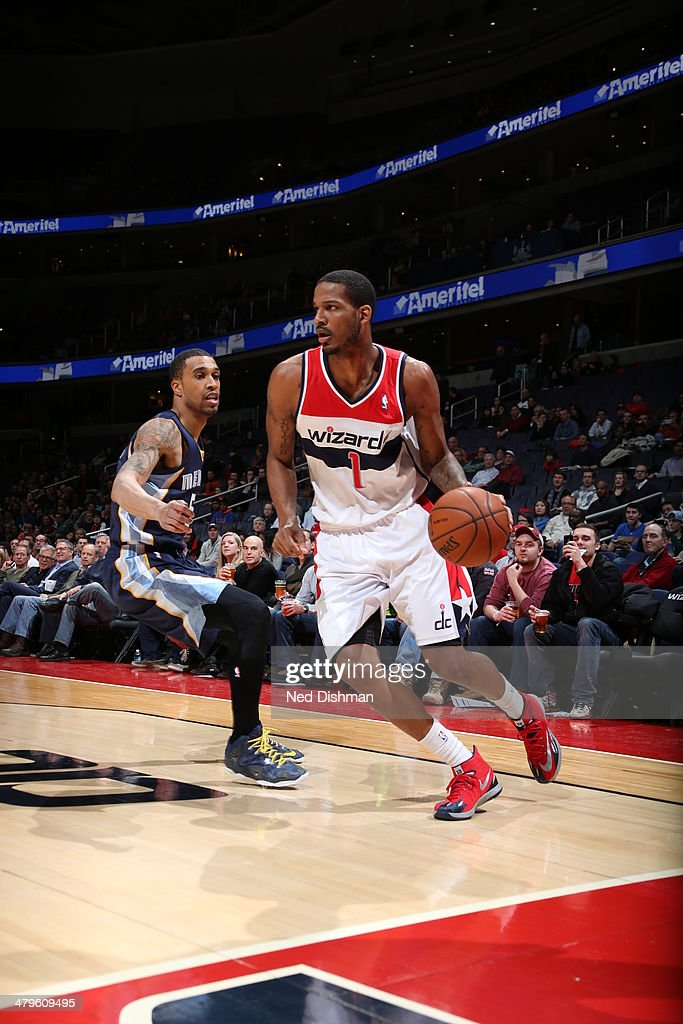 <a gi-track='captionPersonalityLinkClicked' href=/galleries/search?phrase=Trevor+Ariza&family=editorial&specificpeople=201708 ng-click='$event.stopPropagation()'>Trevor Ariza</a> #1 of the Washington Wizards drives against the Memphis Grizzlies at the Verizon Center on March 3, 2014 in Washington, DC.