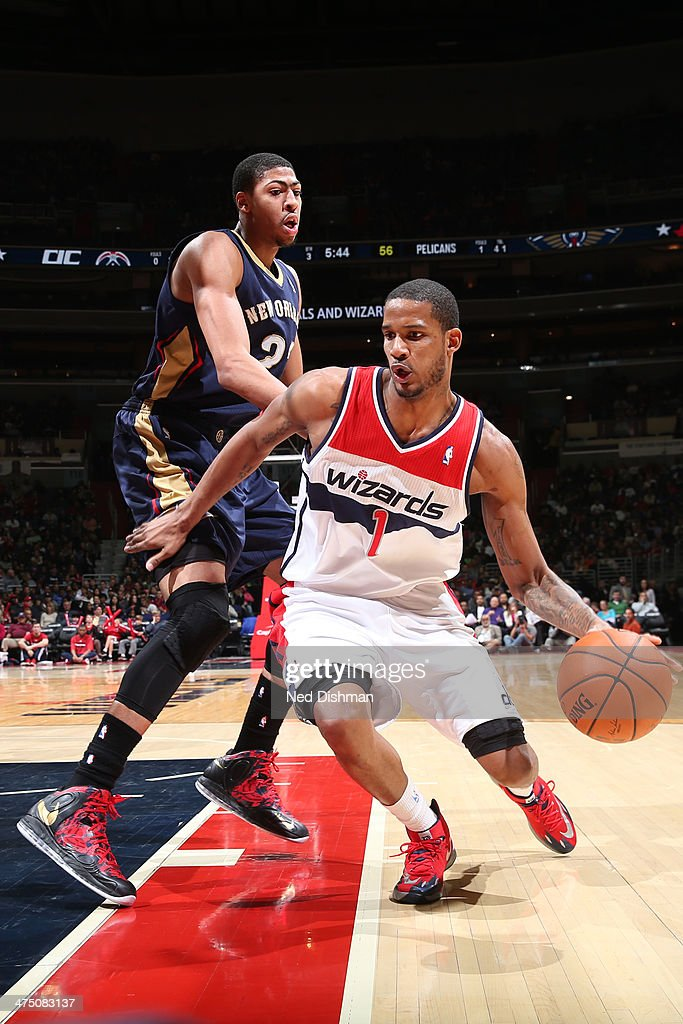 <a gi-track='captionPersonalityLinkClicked' href=/galleries/search?phrase=Trevor+Ariza&family=editorial&specificpeople=201708 ng-click='$event.stopPropagation()'>Trevor Ariza</a> #1 of the Washington Wizards drives against the New Orleans Pelicans at the Verizon Center on February 22, 2014 in Washington, DC.