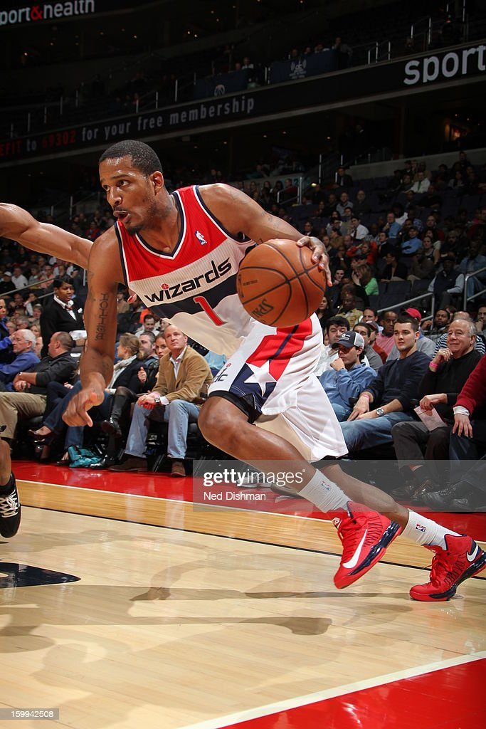 <a gi-track='captionPersonalityLinkClicked' href=/galleries/search?phrase=Trevor+Ariza&family=editorial&specificpeople=201708 ng-click='$event.stopPropagation()'>Trevor Ariza</a> #1 of the Washington Wizards drives against the Orlando Magic during the game at the Verizon Center on January 14, 2013 in Washington, DC.