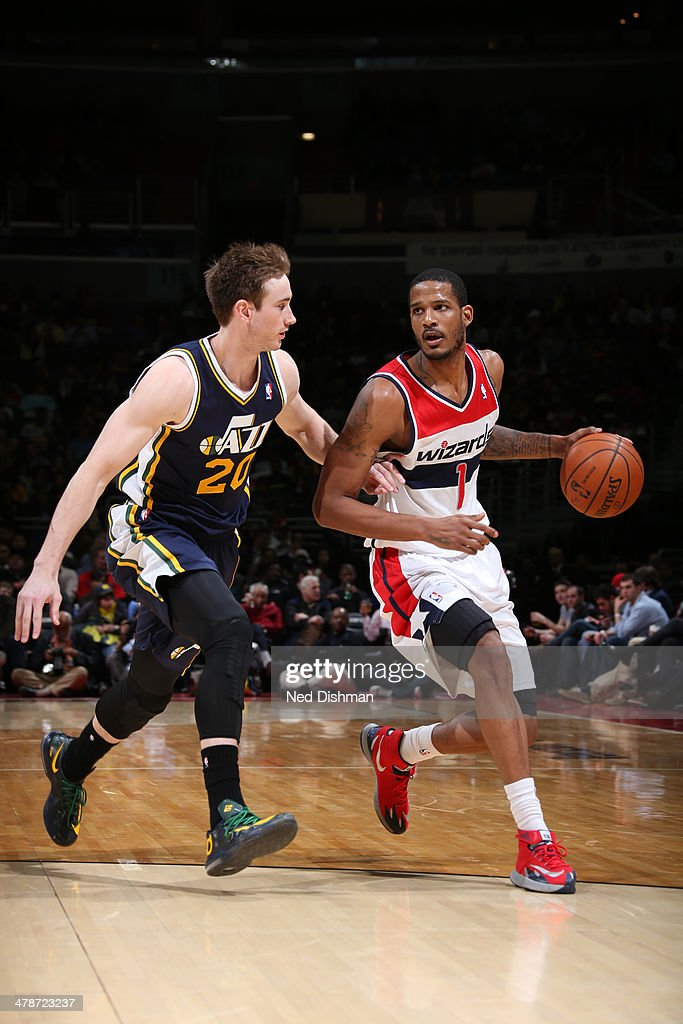 <a gi-track='captionPersonalityLinkClicked' href=/galleries/search?phrase=Trevor+Ariza&family=editorial&specificpeople=201708 ng-click='$event.stopPropagation()'>Trevor Ariza</a> #1 of the Washington Wizards drives against the Utah Jazz at the Verizon Center on March 5, 2014 in Washington, DC.