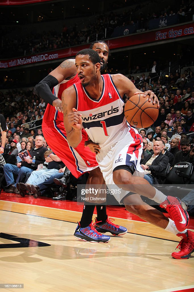 <a gi-track='captionPersonalityLinkClicked' href=/galleries/search?phrase=Trevor+Ariza&family=editorial&specificpeople=201708 ng-click='$event.stopPropagation()'>Trevor Ariza</a> #1 of the Washington Wizards drives to the basket against the Washington Wizards on February 4, 2013 at the Verizon Center in Washington, DC.