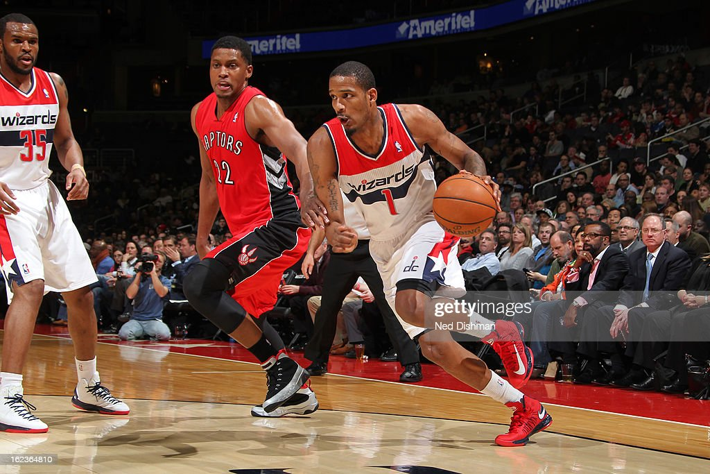 <a gi-track='captionPersonalityLinkClicked' href=/galleries/search?phrase=Trevor+Ariza&family=editorial&specificpeople=201708 ng-click='$event.stopPropagation()'>Trevor Ariza</a> #1 of the Washington Wizards drives to the basket against the Toronto Raptors at the Verizon Center on February 19, 2013 in Washington, DC.