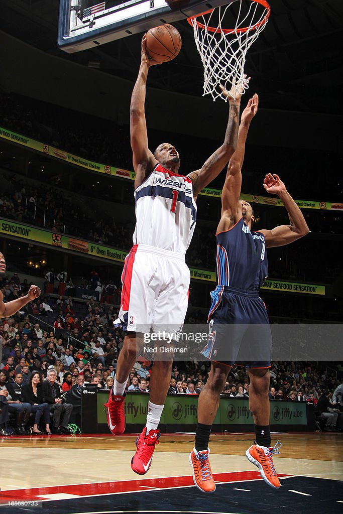 Trevor Ariza #1 of the Washington Wizards drives to the basket against the Charlotte Bobcats at the Verizon Center on March 9, 2013 in Washington, DC.