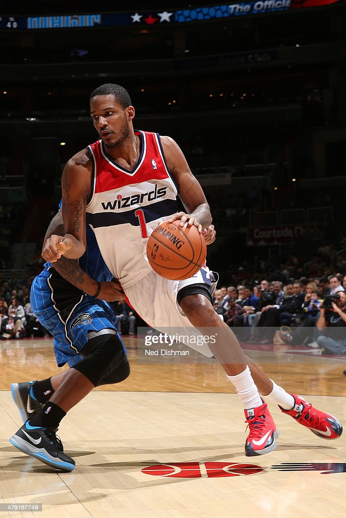 <a gi-track='captionPersonalityLinkClicked' href=/galleries/search?phrase=Trevor+Ariza&family=editorial&specificpeople=201708 ng-click='$event.stopPropagation()'>Trevor Ariza</a> #1 of the Washington Wizards drives to the basket during the game against the Orlando Magic at the Verizon Center on February 25, 2014 in Washington, DC.