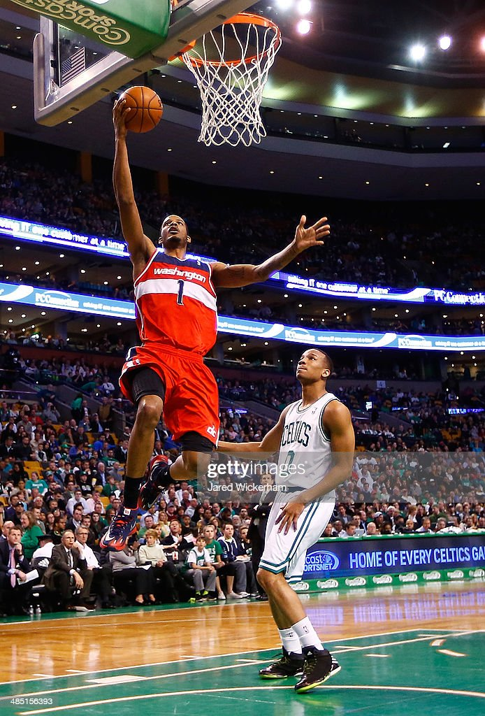 Trevor Ariza #1 of the Washington Wizards drives to the basket in front of Avery Bradley #0 of the Boston Celtics in the second half during the game at TD Garden on April 16, 2014 in Boston, Massachusetts.