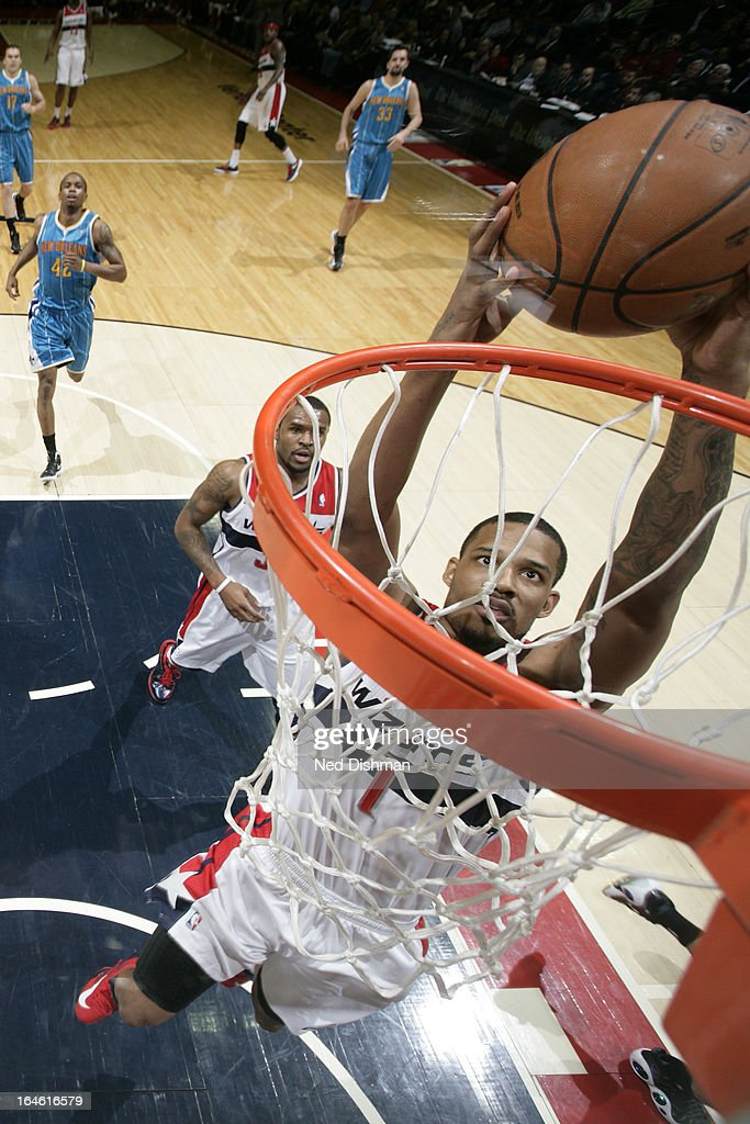 <a gi-track='captionPersonalityLinkClicked' href=/galleries/search?phrase=Trevor+Ariza&family=editorial&specificpeople=201708 ng-click='$event.stopPropagation()'>Trevor Ariza</a> #1 of the Washington Wizards dunks the ball against the New Orleans Hornets at the Verizon Center on March 15, 2013 in Washington, DC.