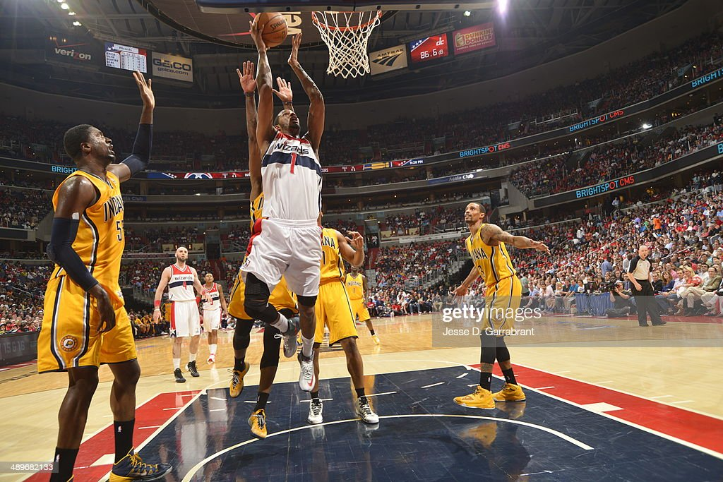 <a gi-track='captionPersonalityLinkClicked' href=/galleries/search?phrase=Trevor+Ariza&family=editorial&specificpeople=201708 ng-click='$event.stopPropagation()'>Trevor Ariza</a> #1 of the Washington Wizards goes up for the layup against the Indiana Pacers during Game Four of the Western Conference Semifinals on May 11, 2014 at the Verizon Center, in Washington DC.