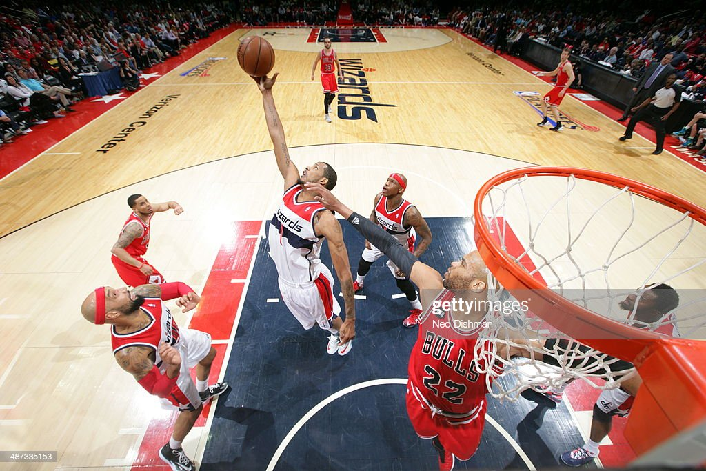 <a gi-track='captionPersonalityLinkClicked' href=/galleries/search?phrase=Trevor+Ariza&family=editorial&specificpeople=201708 ng-click='$event.stopPropagation()'>Trevor Ariza</a> #1 of the Washington Wizards grabs a rebound against the Chicago Bulls in Game Four of the Eastern Conference Quarterfinals on April 27, 2014 at Verizon Center in Washington, DC.