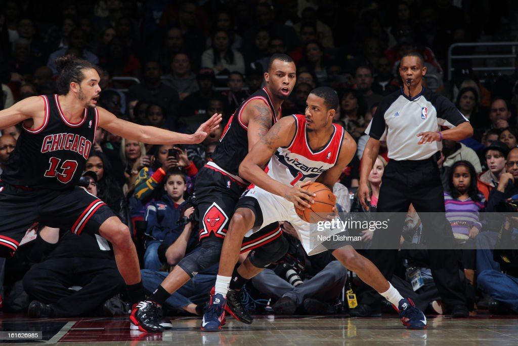 <a gi-track='captionPersonalityLinkClicked' href=/galleries/search?phrase=Trevor+Ariza&family=editorial&specificpeople=201708 ng-click='$event.stopPropagation()'>Trevor Ariza</a> #1 of the Washington Wizards looks to drive to the basket against the Chicago Bulls at the Verizon Center on January 26, 2013 in Washington, DC.