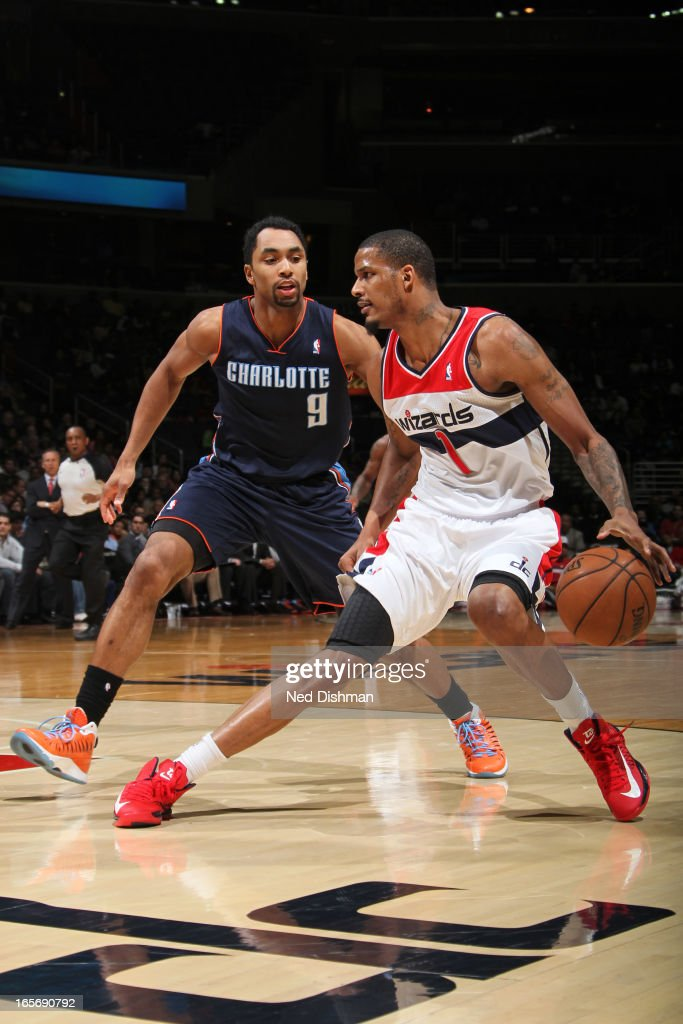 <a gi-track='captionPersonalityLinkClicked' href=/galleries/search?phrase=Trevor+Ariza&family=editorial&specificpeople=201708 ng-click='$event.stopPropagation()'>Trevor Ariza</a> #1 of the Washington Wizards looks to drive to the basket against the Charlotte Bobcats at the Verizon Center on March 9, 2013 in Washington, DC.