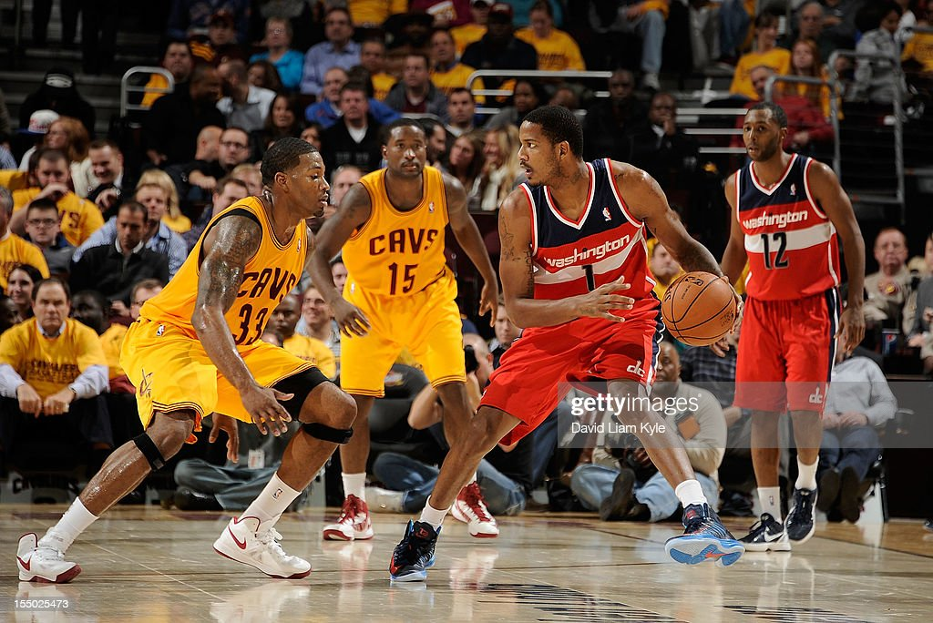 Trevor Ariza #1 of the Washington Wizards looks to make his move against Alonzo Gee #33 of the Cleveland Cavaliers at The Quicken Loans Arena on October 30, 2012 in Cleveland, Ohio.