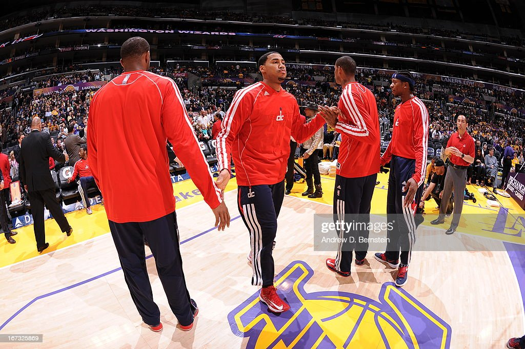 <a gi-track='captionPersonalityLinkClicked' href=/galleries/search?phrase=Trevor+Ariza&family=editorial&specificpeople=201708 ng-click='$event.stopPropagation()'>Trevor Ariza</a> #1 of the Washington Wizards runs out before the game against the Los Angeles Lakers at Staples Center on March 22, 2013 in Los Angeles, California.