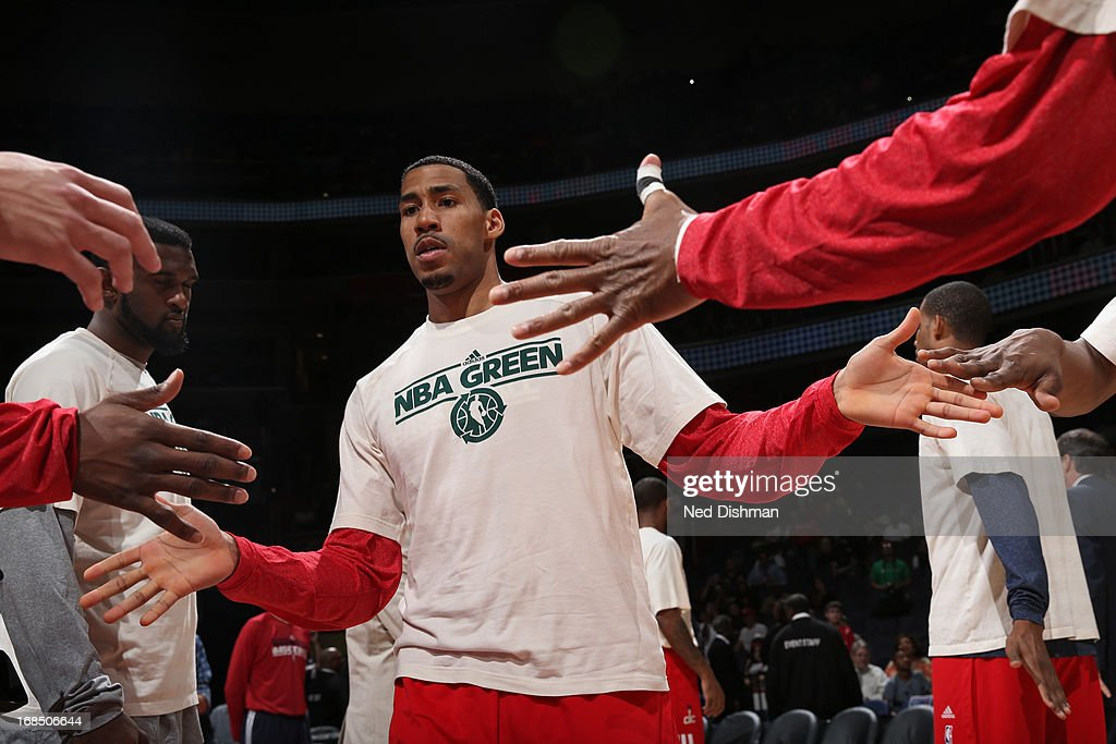 <a gi-track='captionPersonalityLinkClicked' href=/galleries/search?phrase=Trevor+Ariza&family=editorial&specificpeople=201708 ng-click='$event.stopPropagation()'>Trevor Ariza</a> #1 of the Washington Wizards runs out before the game against the Miami Heat at the Verizon Center on April 10, 2013 in Washington, DC.
