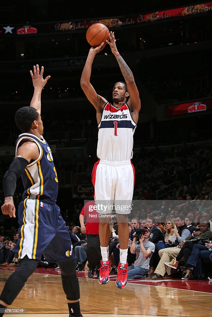 <a gi-track='captionPersonalityLinkClicked' href=/galleries/search?phrase=Trevor+Ariza&family=editorial&specificpeople=201708 ng-click='$event.stopPropagation()'>Trevor Ariza</a> #1 of the Washington Wizards shoots against the Utah Jazz at the Verizon Center on March 5, 2014 in Washington, DC.
