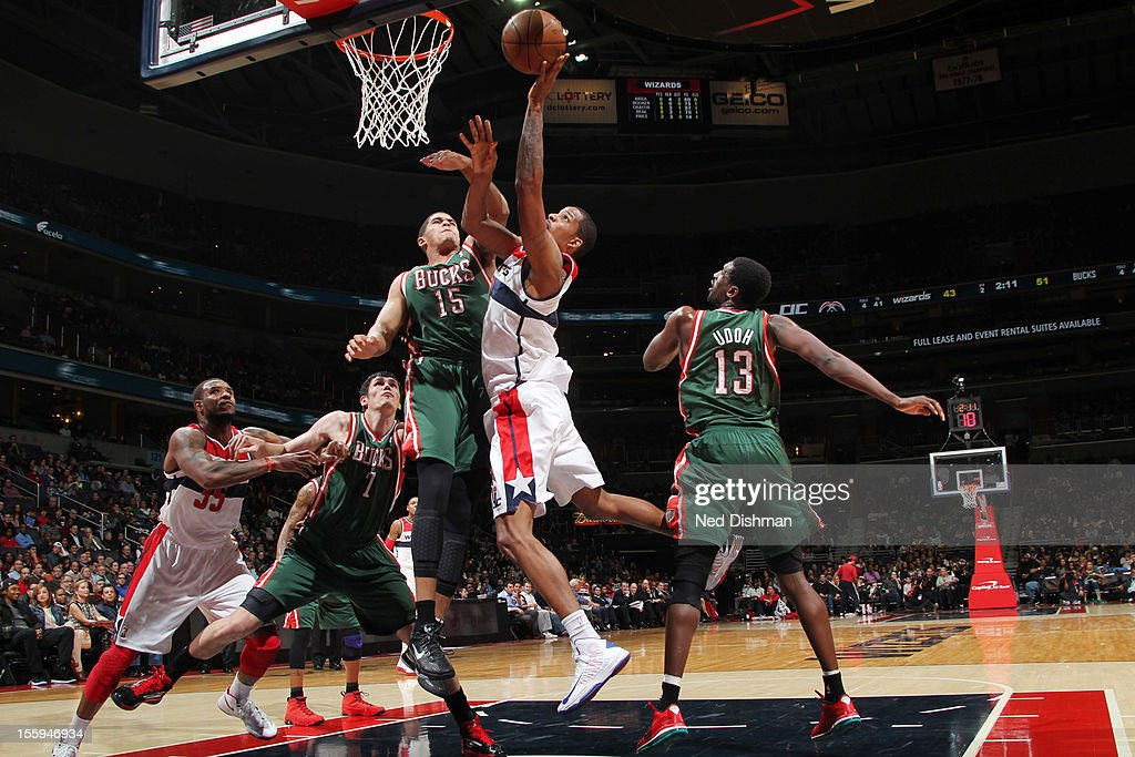 <a gi-track='captionPersonalityLinkClicked' href=/galleries/search?phrase=Trevor+Ariza&family=editorial&specificpeople=201708 ng-click='$event.stopPropagation()'>Trevor Ariza</a> #1 of the Washington Wizards shoots against <a gi-track='captionPersonalityLinkClicked' href=/galleries/search?phrase=Tobias+Harris&family=editorial&specificpeople=6902922 ng-click='$event.stopPropagation()'>Tobias Harris</a> #15 of the Milwaukee Bucks during the game at the Verizon Center on November 9, 2012 in Washington, DC.