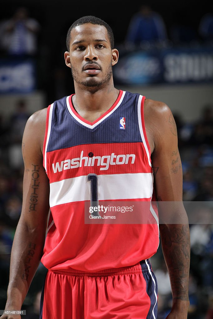 <a gi-track='captionPersonalityLinkClicked' href=/galleries/search?phrase=Trevor+Ariza&family=editorial&specificpeople=201708 ng-click='$event.stopPropagation()'>Trevor Ariza</a> #1 of the Washington Wizards stands on the court against the Dallas Mavericks on November 12, 2013 at the American Airlines Center in Dallas, Texas.